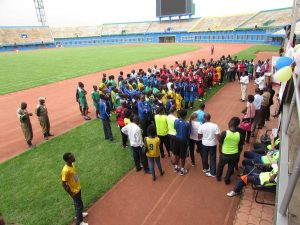 All of the contestants (112 children and their teachers) listening to their MP. He is championing the rights of  people with disability, to have full access to education, sport and employment. Sign language translation provided by RNUD. Rwandan National Union for the Deaf.