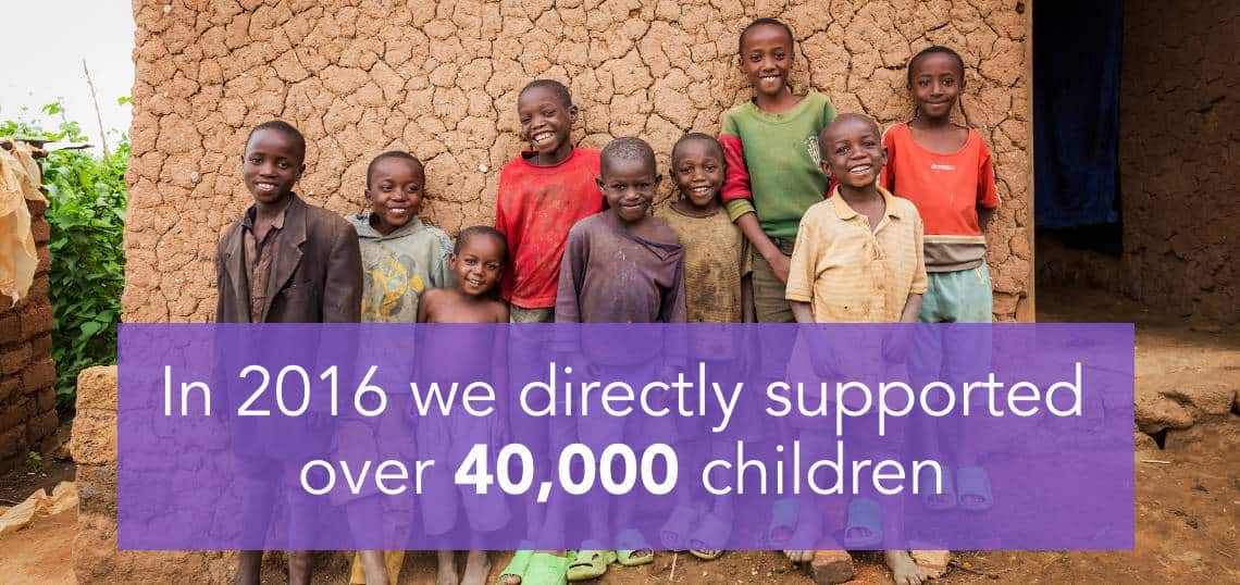 In 2016 we directly supported over 40,000 children